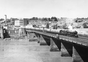 King George V crossing Usk Railway Bridge, Newport, 1977