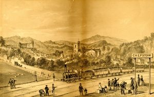 Lithograph of Chepstow Station, c.1850