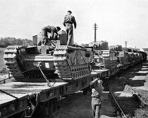 Loading Churchill Tanks at Marlborough High Level Station, 1942