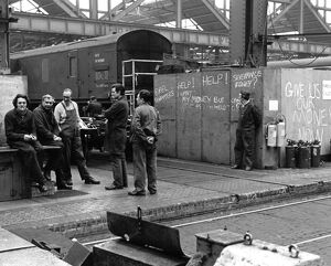Men in the Engine Repairs shop at Swindon Works in 1985