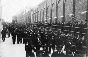 Men leaving Swindon Works, Rodbourne Road entrance, c.1910