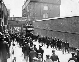 Men leaving Swindon Works, Rodbourne Road entrance, 1928.