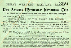 New Swindon Mechanics Institution Trip ticket 1903