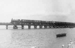 Old timber bridge spanning Radipole Lake, Weymouth, c1900