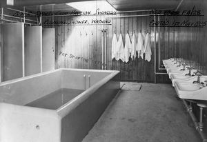 Plunge pool, showers and washing facilities at the GWR Sports Pavilion, Swindon, 1935