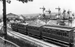 View of signal gantry at Newton Abbot Station, c.1920
