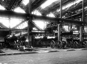 Steam locomotives undergoing repair in A Shop in 1957