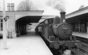 Stroud Station, with locomotive No,1451, c1950s