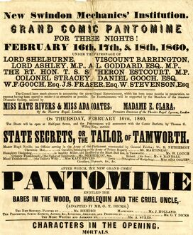 Swindon Mechanics Institute Pantomime poster, 1860