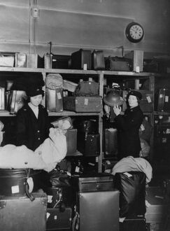 Women porters working in the left luggage office at Paddington station, during WWII