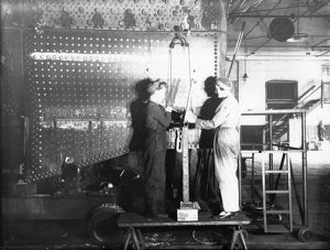 Women working on a locomotive boiler in Swindon Work during WW2